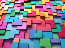 3D teruggevende abstracte achtergrond van multi-colored rond gemaakte vormen Royalty-vrije Stock Afbeeldingen