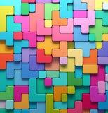 3D teruggevende abstracte achtergrond van multi-colored rond gemaakte vormen Stock Afbeeldingen