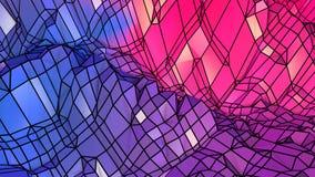 3d teruggevende abstracte geometrische achtergrond met moderne gradiëntkleuren in lage polystijl 3d oppervlakte met blauw rood stock illustratie