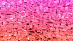 3d teruggevende abstracte geometrische achtergrond met moderne gradiëntkleuren in lage polystijl 3d oppervlakte met rode sinaasap stock illustratie