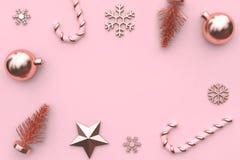 3d teruggevende abstracte Kerstmisachtergrond roze metaal glanzend-roze goud royalty-vrije stock foto