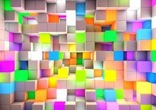 3D teruggevende abstracte kleur als achtergrond lichte kubussen Royalty-vrije Stock Afbeelding