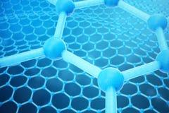 3D teruggevende abstracte nanotechnologie hexagonaal geometrisch vormclose-up Concept van de Graphene het atoomstructuur, koolsto Stock Foto