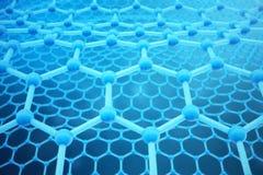 3D teruggevende abstracte nanotechnologie hexagonaal geometrisch vormclose-up Concept van de Graphene het atoomstructuur, koolsto Stock Afbeelding