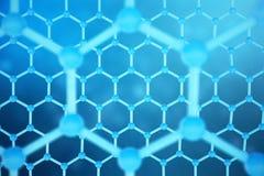 3D teruggevende abstracte nanotechnologie hexagonaal geometrisch vormclose-up Concept van de Graphene het atoomstructuur, koolsto Royalty-vrije Stock Foto
