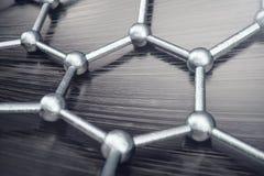 3D teruggevende abstracte nanotechnologie hexagonaal geometrisch vormclose-up Concept van de Graphene het atoomstructuur, koolsto Stock Afbeeldingen