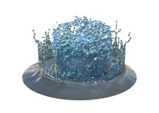 3D Teruggevende Abstracte Plons van Water op Wit Stock Fotografie