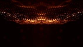 3d teruggevende achtergrond met deeltjes met diepte van gebied Lijnanimatie, naadloze lengte Donkere digitale samenvatting royalty-vrije illustratie