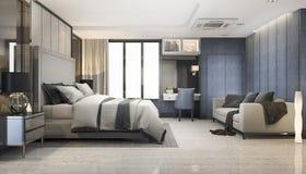3d teruggevende blauwe moderne reeks van de luxeslaapkamer in hotel Stock Fotografie