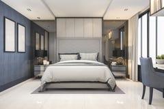 3d teruggevende blauwe moderne reeks van de luxeslaapkamer in hotel met decor Stock Fotografie