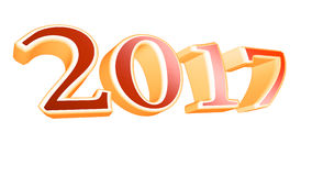 3D teruggevende 2017 de nieuwe illustratie van de jaarvooravond op witte achtergrond Stock Afbeelding