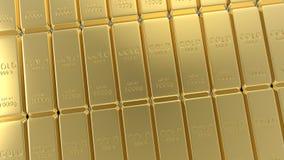 3d teruggevende die reeks goudstaven op witte achtergrond wordt geïsoleerd Royalty-vrije Stock Afbeeldingen
