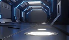 3D teruggevende elementen van dit geleverde beeld, Spaceshiptunnel, gang stock illustratie