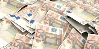 3d teruggevende 50 euro bankbiljettenachtergrond Stock Afbeelding