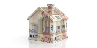 3d teruggevende 50 euro huis op witte achtergrond Stock Afbeeldingen