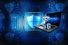 3d teruggevende 5G Netwerk5g Verbinding, Internet-concept, Draadloos Internet-Verbindingsconcept Royalty-vrije Stock Afbeeldingen