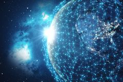 3D Teruggevende Globale Netwerkachtergrond Verbindingslijnen met Dots Around Earth Globe Globale Internationale Connectiviteit Royalty-vrije Stock Afbeelding