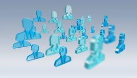 3D teruggevende groep pictogram blauwe mensen Stock Afbeelding
