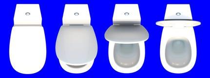 3d teruggevende hoogste die mening van een reeks van toiletzetel op een blauw wordt geïsoleerd Stock Foto