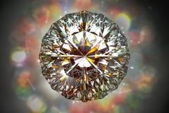 3d teruggevende hoogste mening van de diamant van de fonkelingsbezinning op een bokeh l Royalty-vrije Stock Fotografie