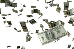 3D teruggevende hoop van geld 100 USD-bankbiljet vliegende vlotter in de lucht die zich op meest dichtbijgelegen met witte achter Stock Fotografie
