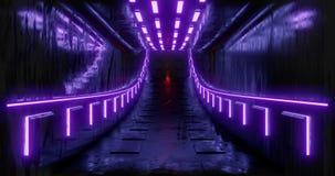 3d teruggevende illustratie sc.i-FI futuristisch abstract gradiënt blauw violet roze neon Een gloeiende gang op de bezinning van royalty-vrije illustratie