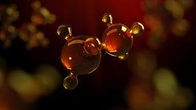 3d teruggevende illustratie van het model van de glasmolecule Molecule van olie Concept olie of gas van de structuur het de model Royalty-vrije Stock Foto's