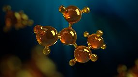 3d teruggevende illustratie van het model van de glasmolecule Molecule van olie Concept olie of gas van de structuur het de model Royalty-vrije Stock Afbeelding
