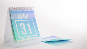 3D Teruggevende In Kleurenkalender op Witte Achtergrond - april Royalty-vrije Stock Foto's