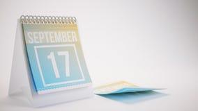3D Teruggevende In Kleurenkalender op Witte Achtergrond - septem Stock Afbeelding