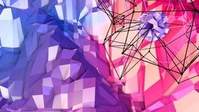 3d teruggevende lage poly abstracte geometrische achtergrond met moderne gradiëntkleuren 3d oppervlakte als beeldverhaalterrein m Royalty-vrije Stock Fotografie