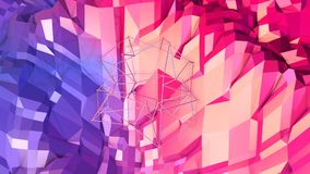 3d teruggevende lage poly abstracte geometrische achtergrond met moderne gradiëntkleuren 3d oppervlakte als beeldverhaalterrein m Royalty-vrije Stock Foto