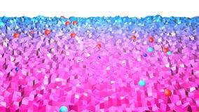 3d teruggevende lage poly abstracte geometrische achtergrond met moderne gradiëntkleuren 3d oppervlakte met rode blauwe gradiënt  Stock Afbeelding