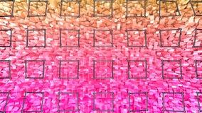 3d teruggevende lage poly abstracte geometrische achtergrond met moderne gradiëntkleuren 3d oppervlakte met rode oranje gradiënt  Stock Afbeeldingen