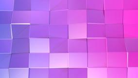 3d teruggevende lage poly abstracte geometrische achtergrond met moderne gradiëntkleuren 3d oppervlakte van violette rode vierkan Stock Afbeelding