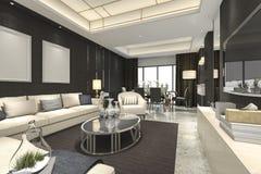 3d teruggevende luxe en moderne woonkamer en eetkamer Stock Fotografie