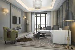3d teruggevende luxe en moderne woonkamer met grote mening Stock Afbeelding