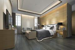 3d teruggevende luxe moderne slaapkamerreeks in hotel Stock Afbeeldingen