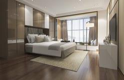 3d teruggevende luxe moderne slaapkamerreeks in hotel Royalty-vrije Stock Fotografie
