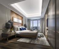 3d teruggevende luxe moderne slaapkamerreeks in hotel Royalty-vrije Stock Foto