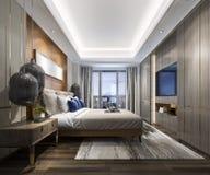 3d teruggevende luxe moderne slaapkamerreeks in hotel Stock Foto