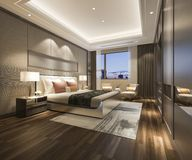 3d teruggevende luxe moderne slaapkamerreeks in hotel Royalty-vrije Stock Afbeeldingen