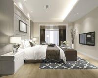 3d teruggevende luxe moderne slaapkamerreeks in hotel Stock Afbeelding