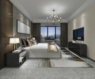 3d teruggevende luxe moderne slaapkamerreeks in hotel Royalty-vrije Stock Afbeelding