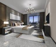 3d teruggevende luxe moderne slaapkamerreeks in hotel Royalty-vrije Stock Foto's