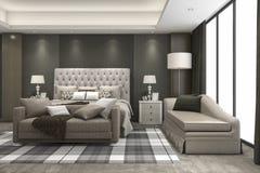 3d teruggevende luxe moderne slaapkamerreeks in hotel Stock Fotografie