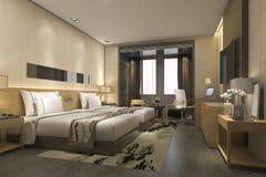 3d teruggevende luxe moderne slaapkamerreeks in hotel en toevlucht Royalty-vrije Stock Foto's