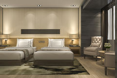 3d teruggevende luxe moderne slaapkamerreeks in hotel en toevlucht Royalty-vrije Stock Foto