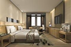 3d teruggevende luxe moderne slaapkamerreeks in hotel en toevlucht Royalty-vrije Stock Afbeelding