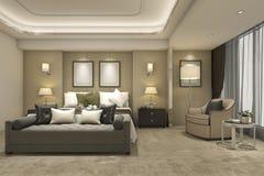 3d teruggevende luxe moderne slaapkamerreeks in hotel en toevlucht Stock Afbeeldingen